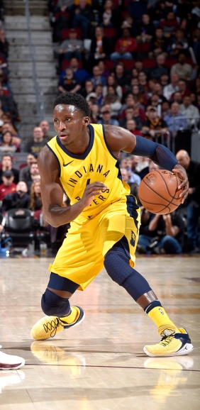 CLEVELAND, OH - JANUARY 26: Victor Oladipo #4 of the Indiana Pacers handles the ball against the Cleveland Cavaliers on January 26, 2018 at Quicken Loans Arena in Cleveland, Ohio. NOTE TO USER: User expressly acknowledges and agrees that, by downloading and/or using this Photograph, user is consenting to the terms and conditions of the Getty Images License Agreement. Mandatory Copyright Notice: Copyright 2018 NBAE (Photo by David Liam Kyle/NBAE via Getty Images)